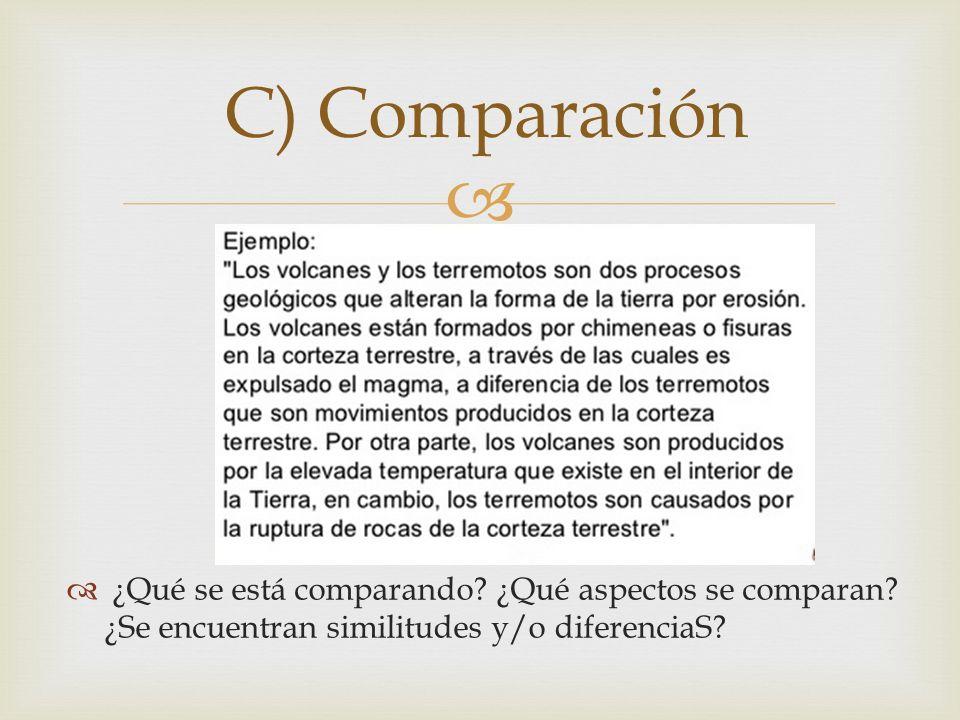 C) Comparación ¿Qué se está comparando. ¿Qué aspectos se comparan.