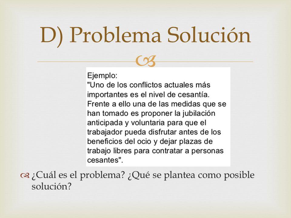 D) Problema Solución ¿Cuál es el problema ¿Qué se plantea como posible solución
