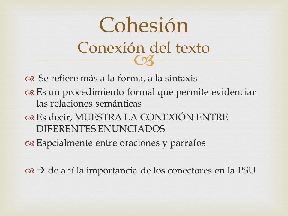 Cohesión Conexión del texto