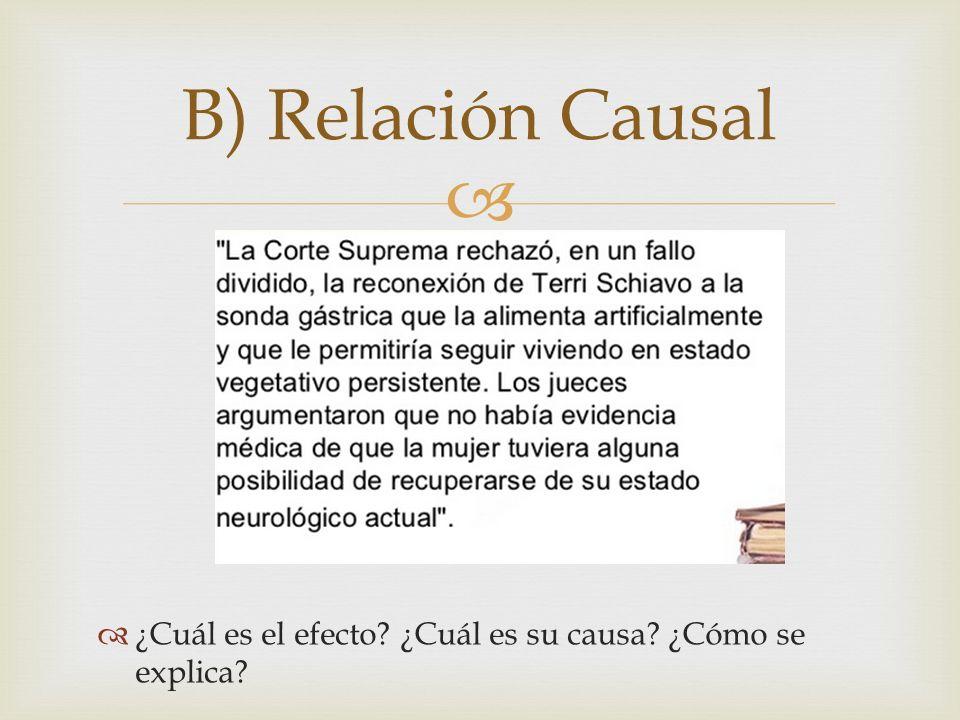 B) Relación Causal ¿Cuál es el efecto ¿Cuál es su causa ¿Cómo se explica