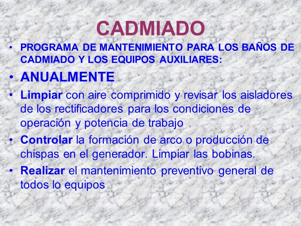 CADMIADO PROGRAMA DE MANTENIMIENTO PARA LOS BAÑOS DE CADMIADO Y LOS EQUIPOS AUXILIARES: ANUALMENTE.