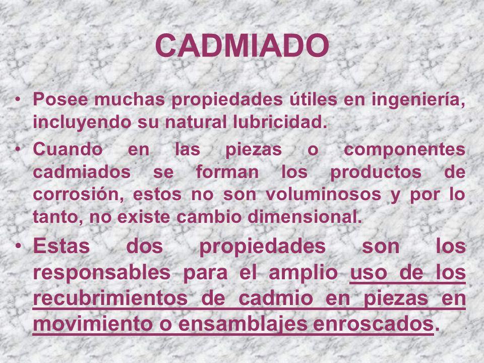 CADMIADO Posee muchas propiedades útiles en ingeniería, incluyendo su natural lubricidad.