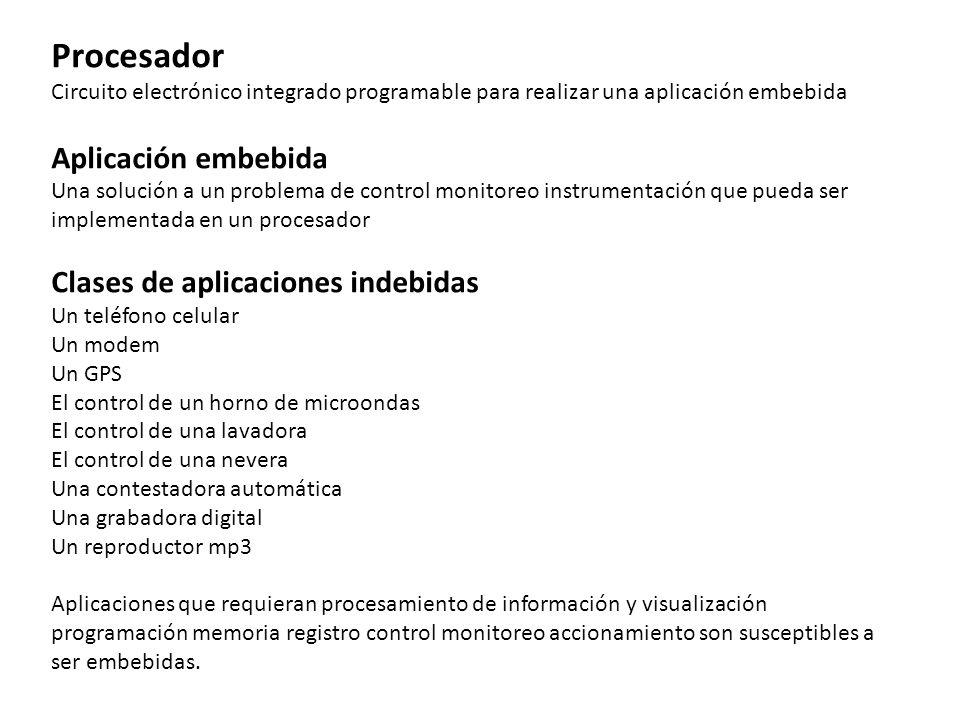 Procesador Aplicación embebida Clases de aplicaciones indebidas