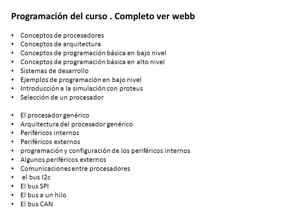 Programación del curso . Completo ver webb