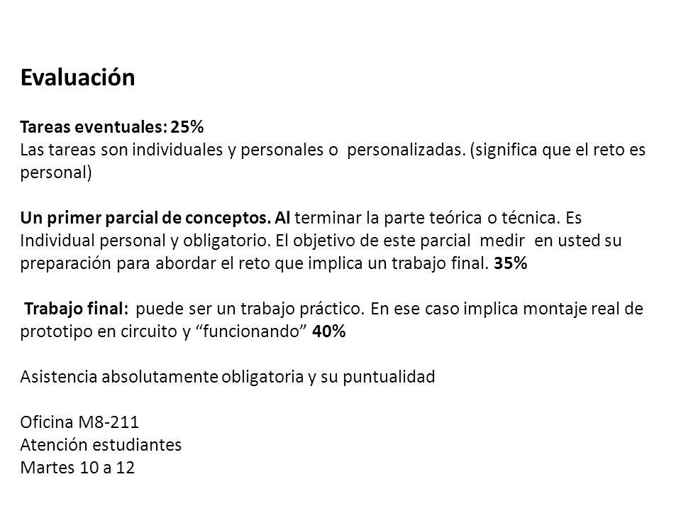 Evaluación Tareas eventuales: 25%