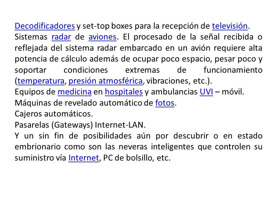 Decodificadores y set-top boxes para la recepción de televisión.