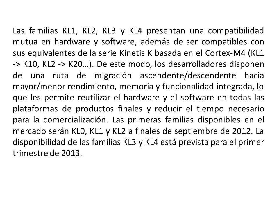 Las familias KL1, KL2, KL3 y KL4 presentan una compatibilidad mutua en hardware y software, además de ser compatibles con sus equivalentes de la serie Kinetis K basada en el Cortex-M4 (KL1 -> K10, KL2 -> K20…).