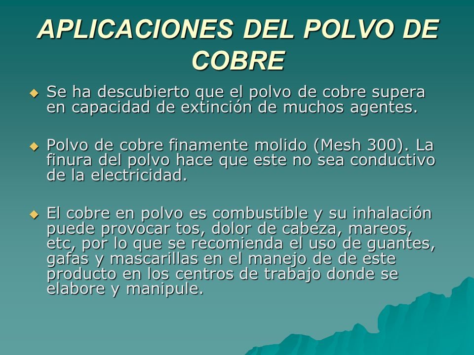 APLICACIONES DEL POLVO DE COBRE