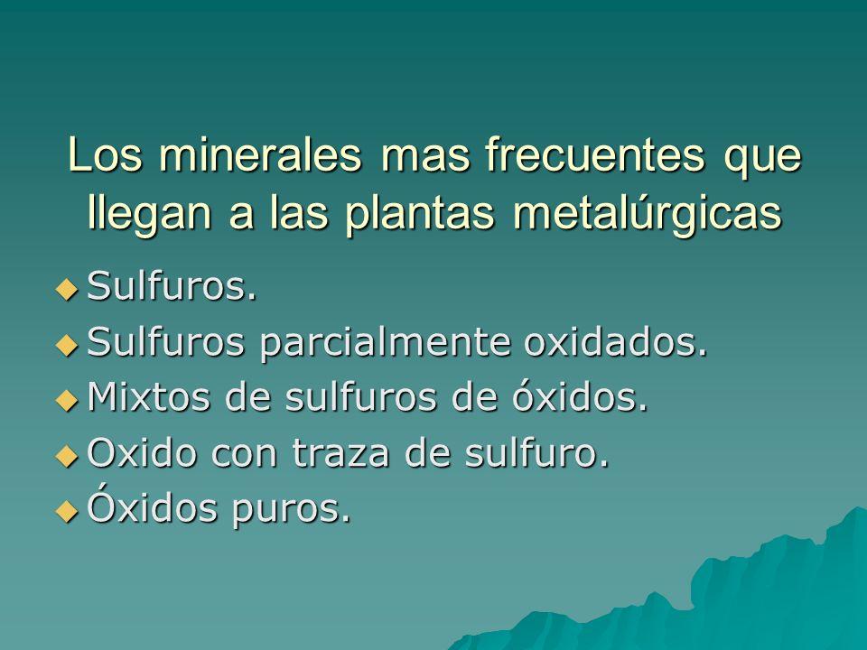 Los minerales mas frecuentes que llegan a las plantas metalúrgicas