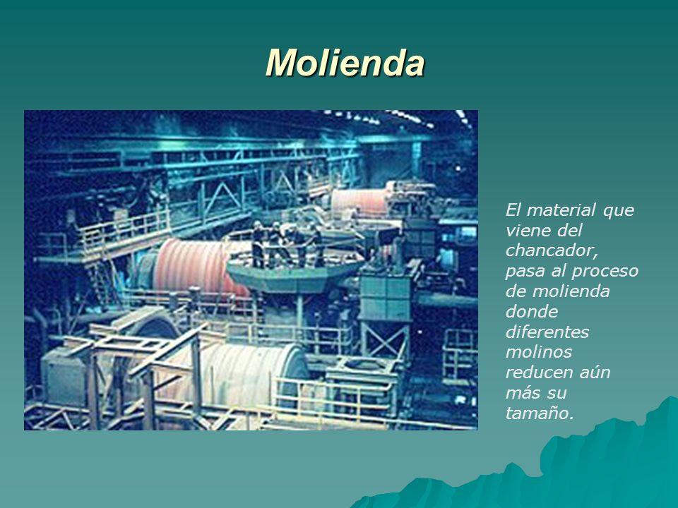 Molienda El material que viene del chancador, pasa al proceso de molienda donde diferentes molinos reducen aún más su tamaño.