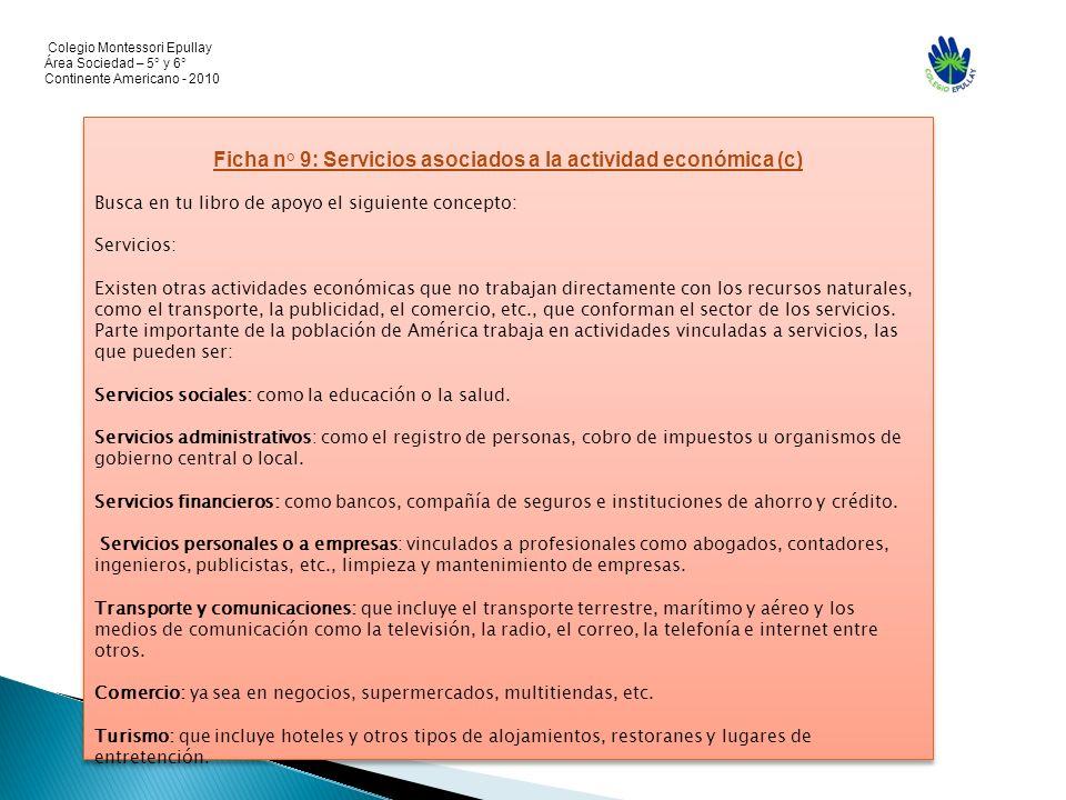 Ficha n° 9: Servicios asociados a la actividad económica (c)