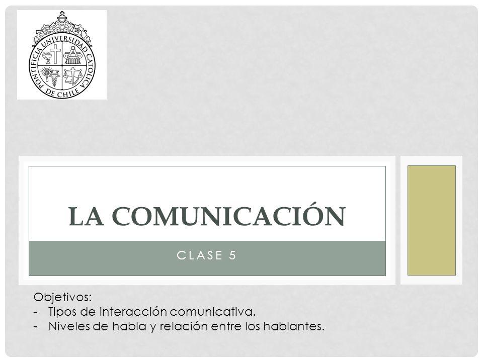 LA comunicación Clase 5 Objetivos: Tipos de interacción comunicativa.