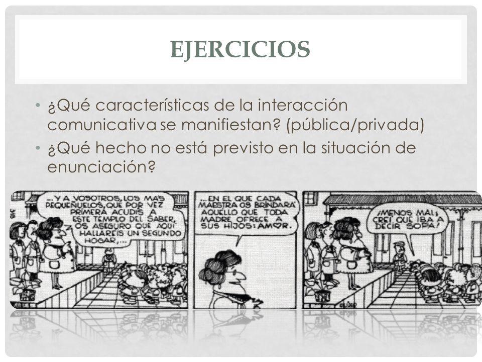 EJERCICIOS ¿Qué características de la interacción comunicativa se manifiestan (pública/privada)