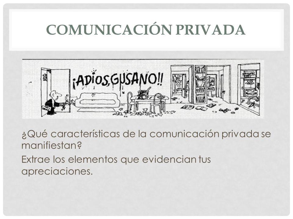 Comunicación privada¿Qué características de la comunicación privada se manifiestan.