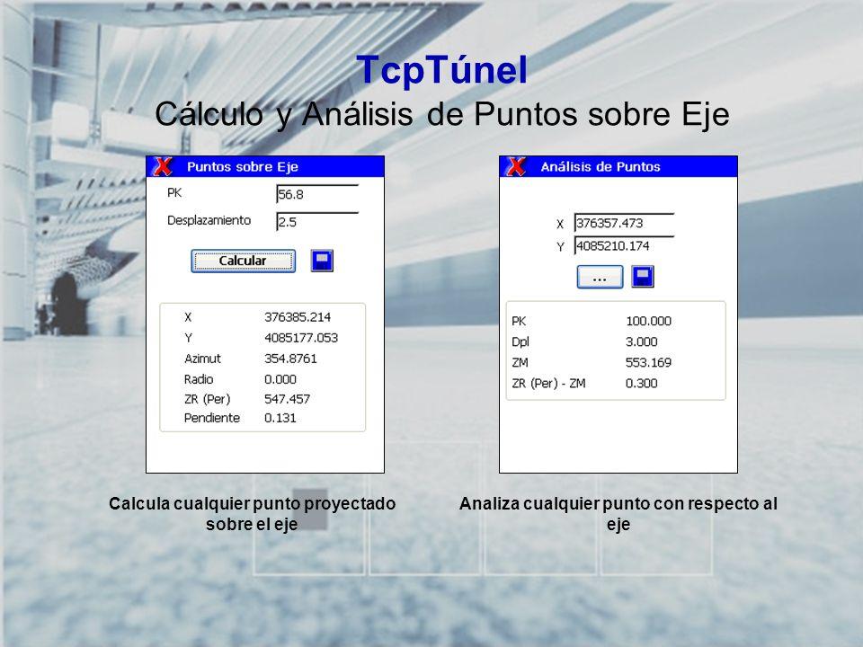 TcpTúnel Cálculo y Análisis de Puntos sobre Eje