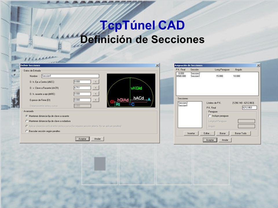 TcpTúnel CAD Definición de Secciones
