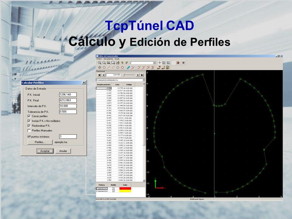 TcpTúnel CAD Cálculo y Edición de Perfiles