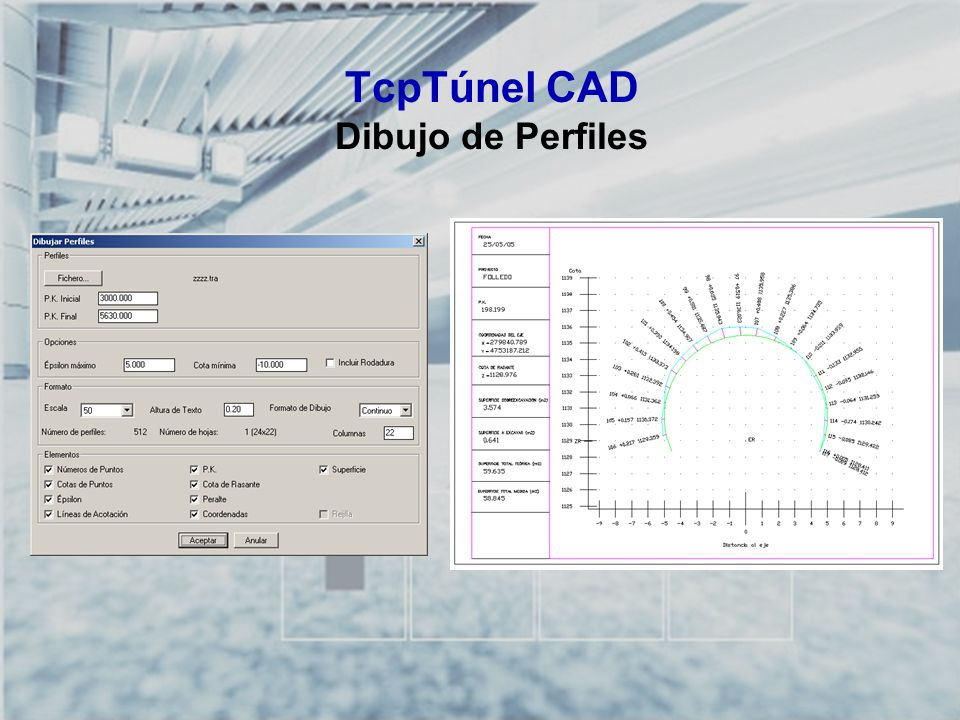 TcpTúnel CAD Dibujo de Perfiles