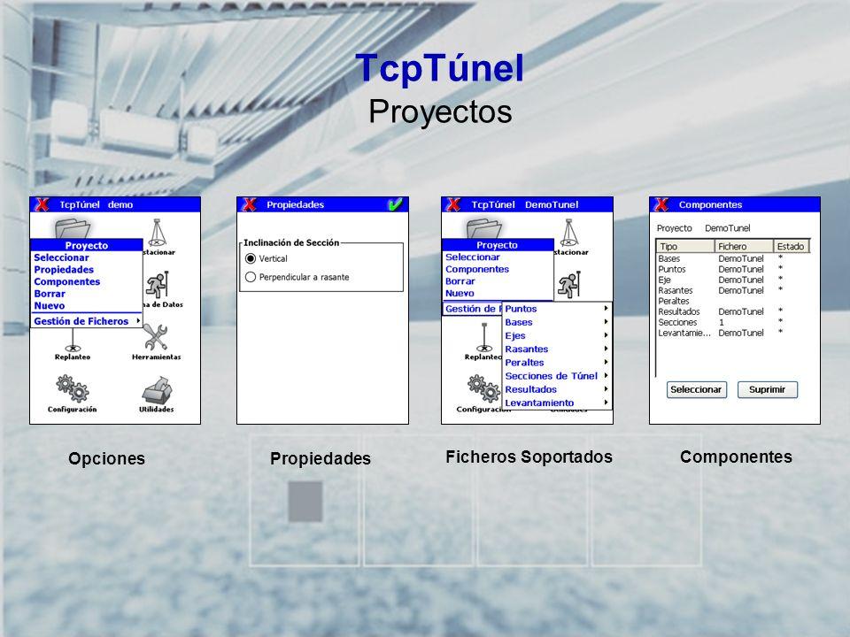 TcpTúnel Proyectos Opciones Propiedades Ficheros Soportados