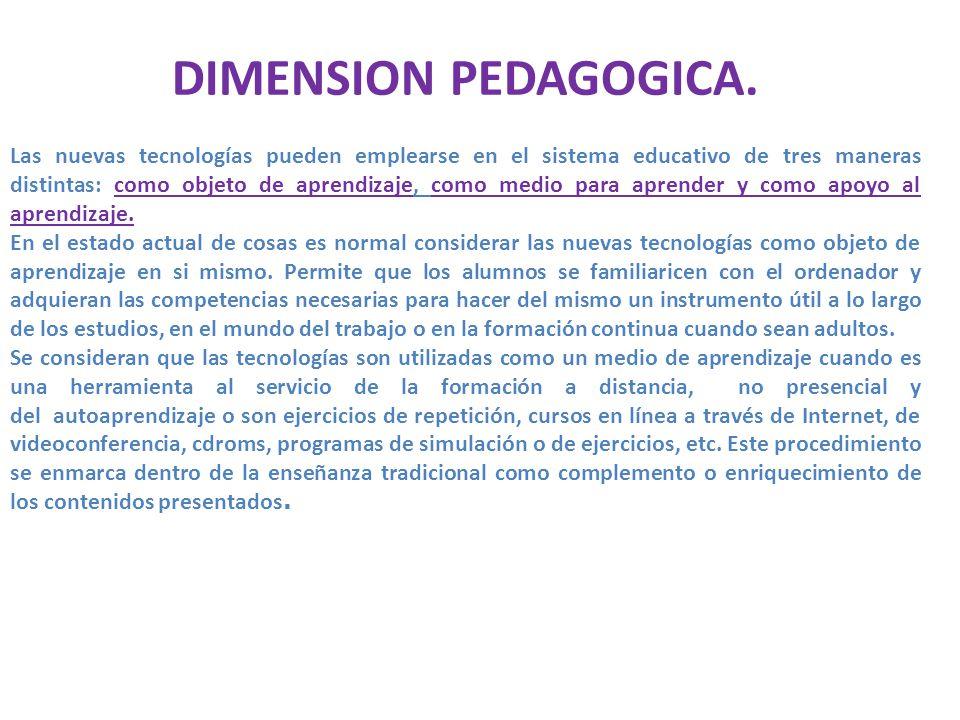 DIMENSION PEDAGOGICA.