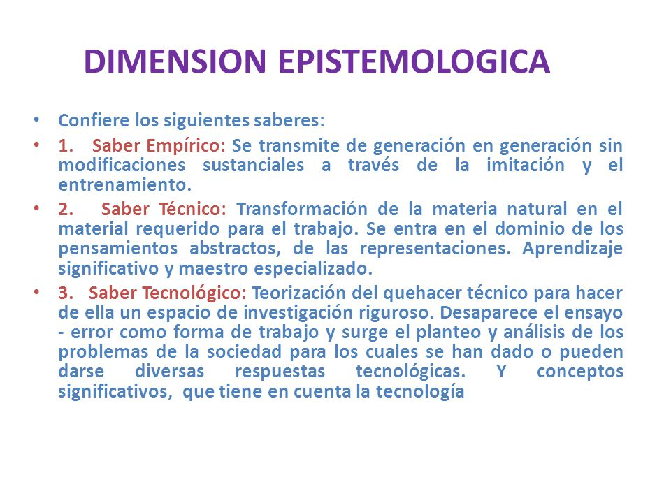 DIMENSION EPISTEMOLOGICA