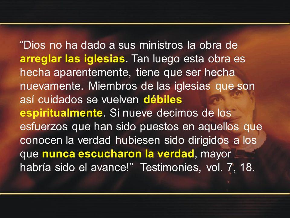 Dios no ha dado a sus ministros la obra de arreglar las iglesias