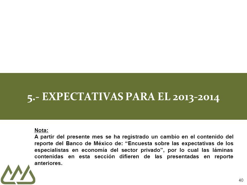 5.- EXPECTATIVAS PARA EL 2013-2014