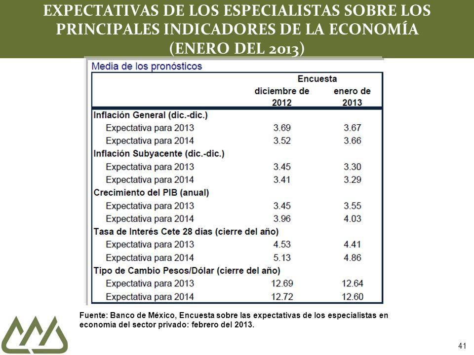 EXPECTATIVAS DE LOS ESPECIALISTAS SOBRE LOS PRINCIPALES INDICADORES DE LA ECONOMÍA (ENERO DEL 2013)