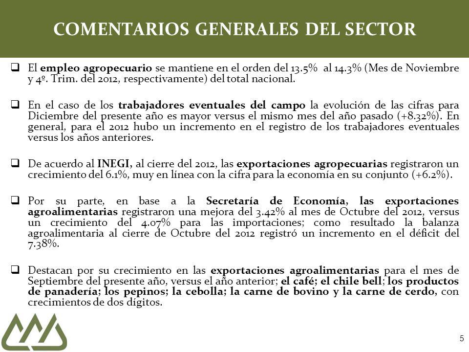 COMENTARIOS GENERALES DEL SECTOR