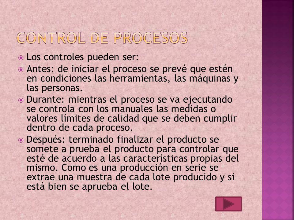 Control de procesos Los controles pueden ser: