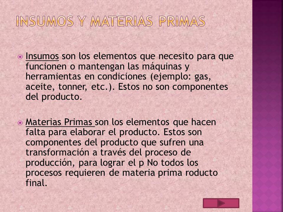 Insumos y materias primas