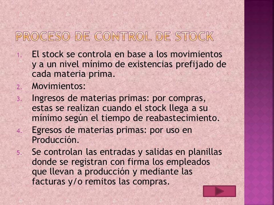 Proceso de Control de stock