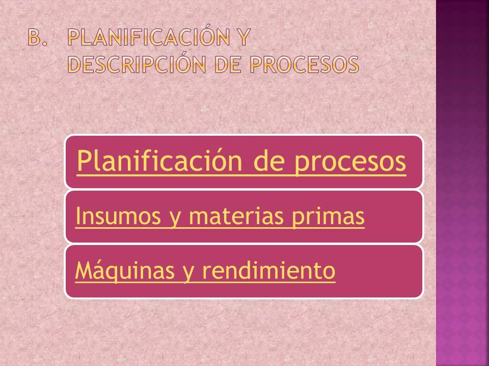 Planificación y Descripción de procesos