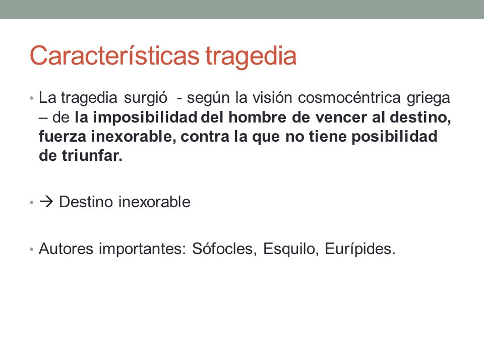 Características tragedia