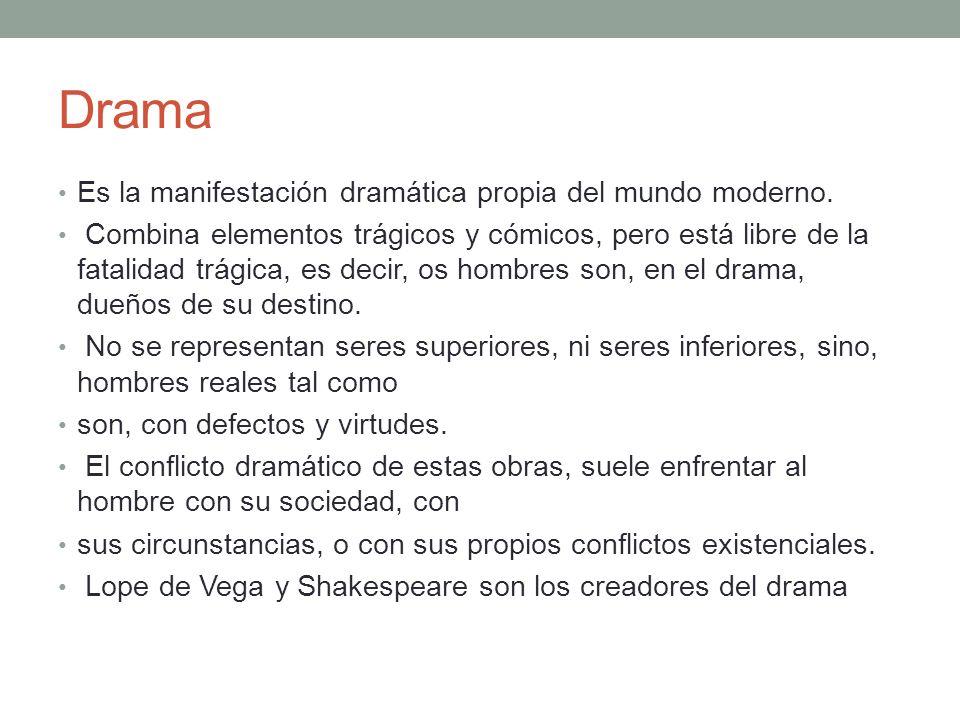 Drama Es la manifestación dramática propia del mundo moderno.