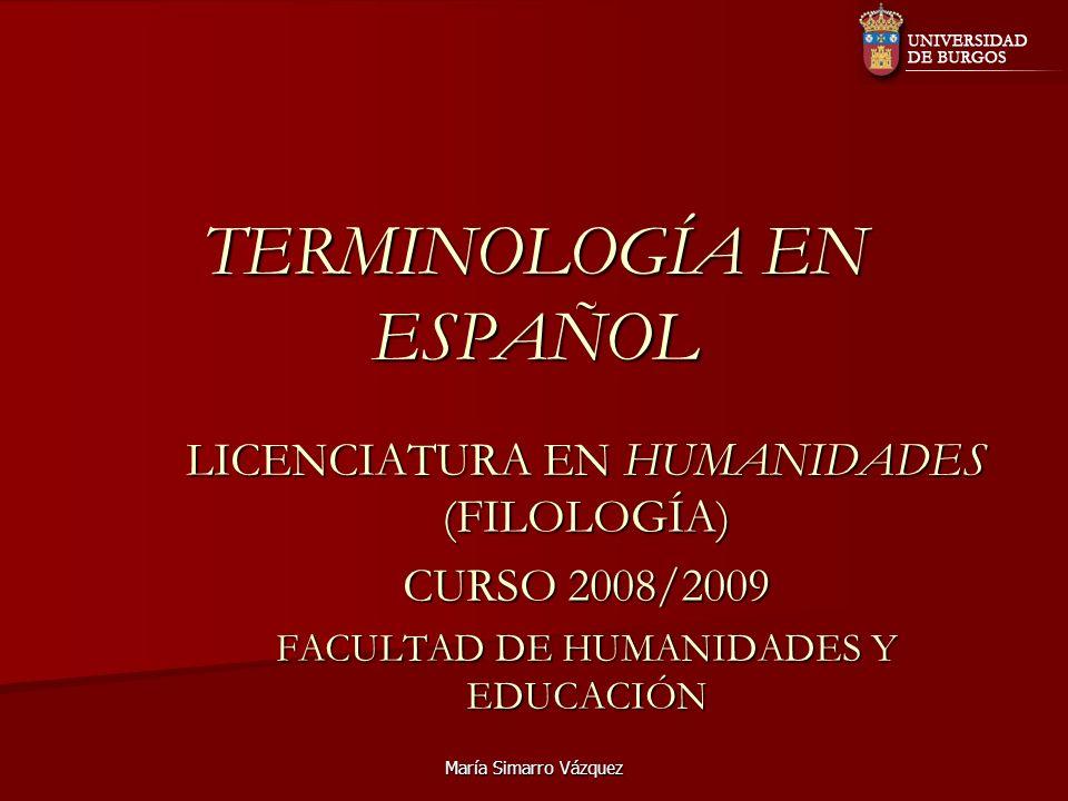 TERMINOLOGÍA EN ESPAÑOL