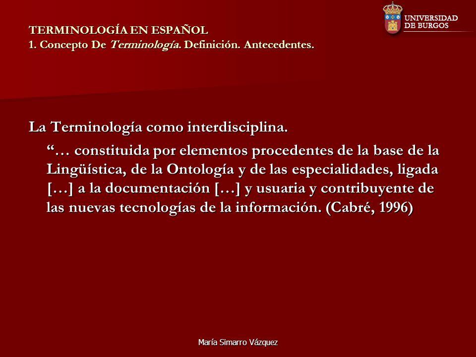 La Terminología como interdisciplina.