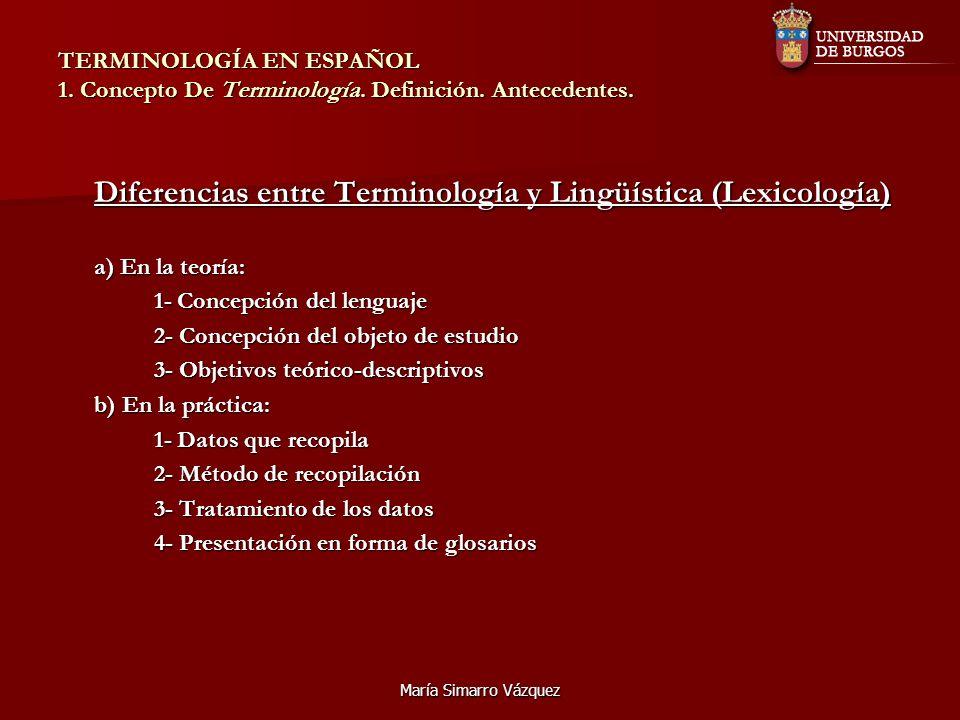 Diferencias entre Terminología y Lingüística (Lexicología)