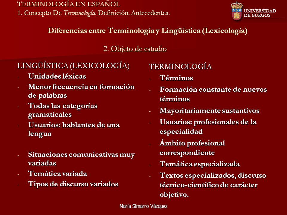 LINGÜÍSTICA (LEXICOLOGÍA) Unidades léxicas