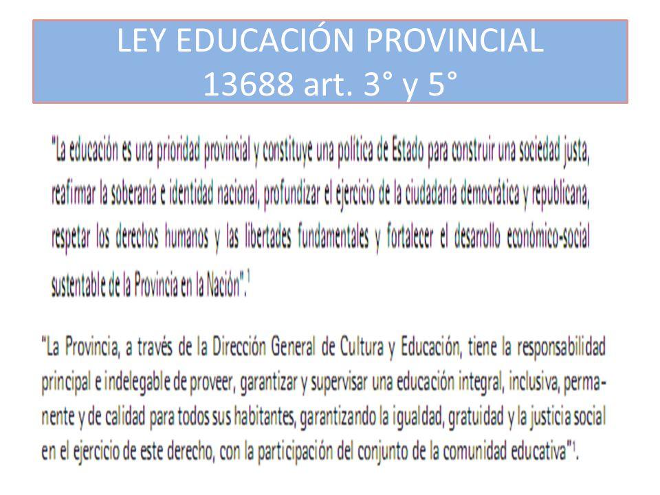 LEY EDUCACIÓN PROVINCIAL 13688 art. 3° y 5°