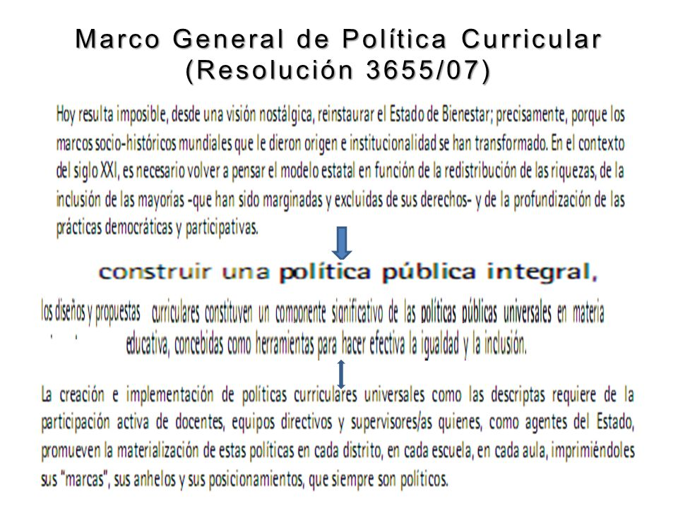 Marco General de Política Curricular (Resolución 3655/07)
