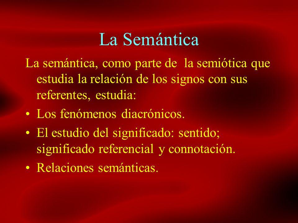 La SemánticaLa semántica, como parte de la semiótica que estudia la relación de los signos con sus referentes, estudia: