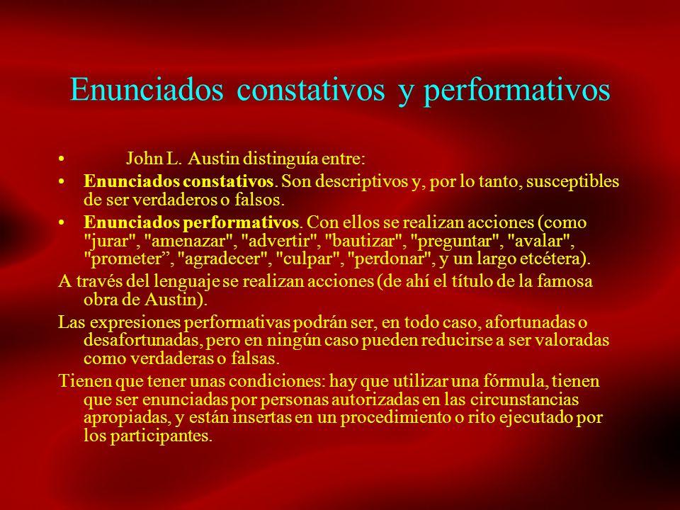 Enunciados constativos y performativos