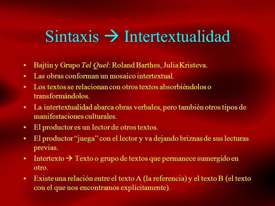 Sintaxis  Intertextualidad