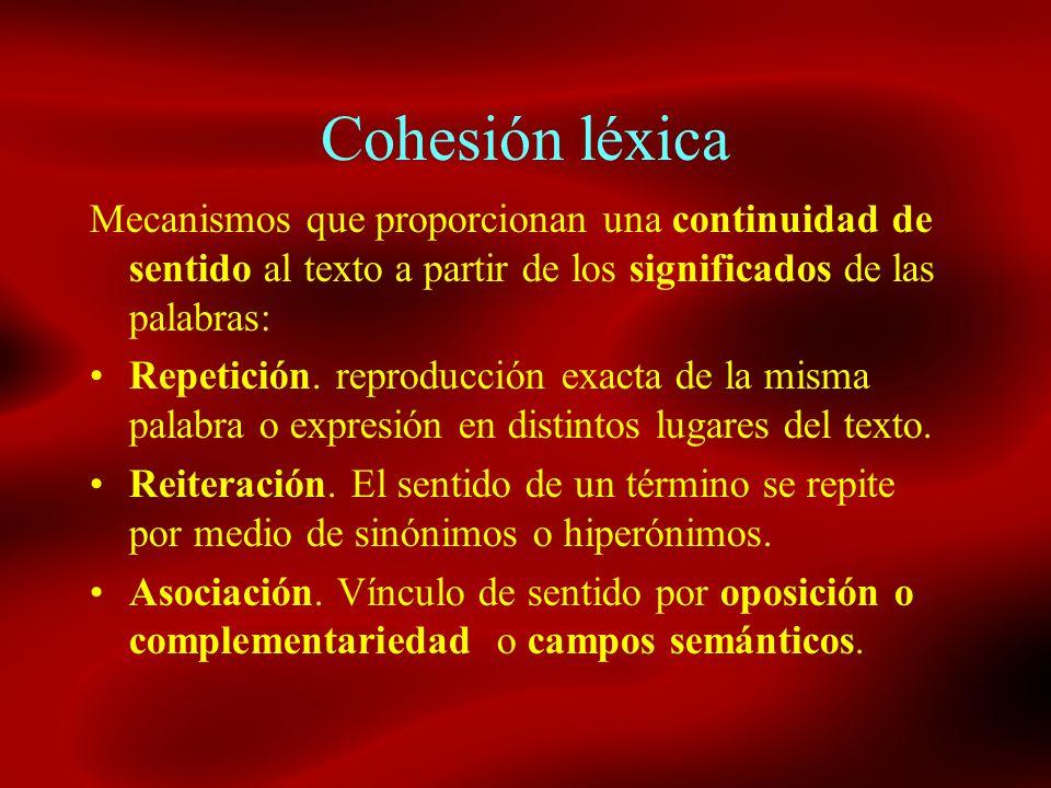 Cohesión léxica Mecanismos que proporcionan una continuidad de sentido al texto a partir de los significados de las palabras: