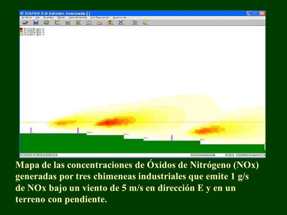 Mapa de las concentraciones de Óxidos de Nitrógeno (NOx) generadas por tres chimeneas industriales que emite 1 g/s de NOx bajo un viento de 5 m/s en dirección E y en un terreno con pendiente.