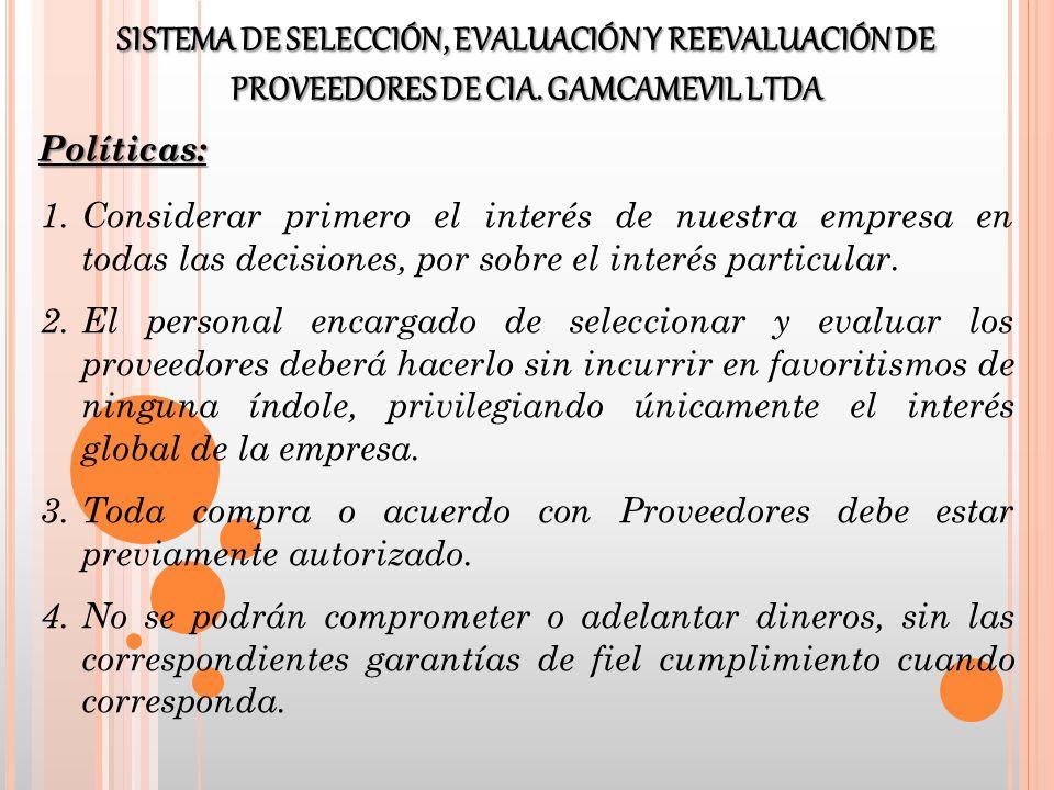 SISTEMA DE SELECCIÓN, EVALUACIÓN Y REEVALUACIÓN DE PROVEEDORES DE CIA