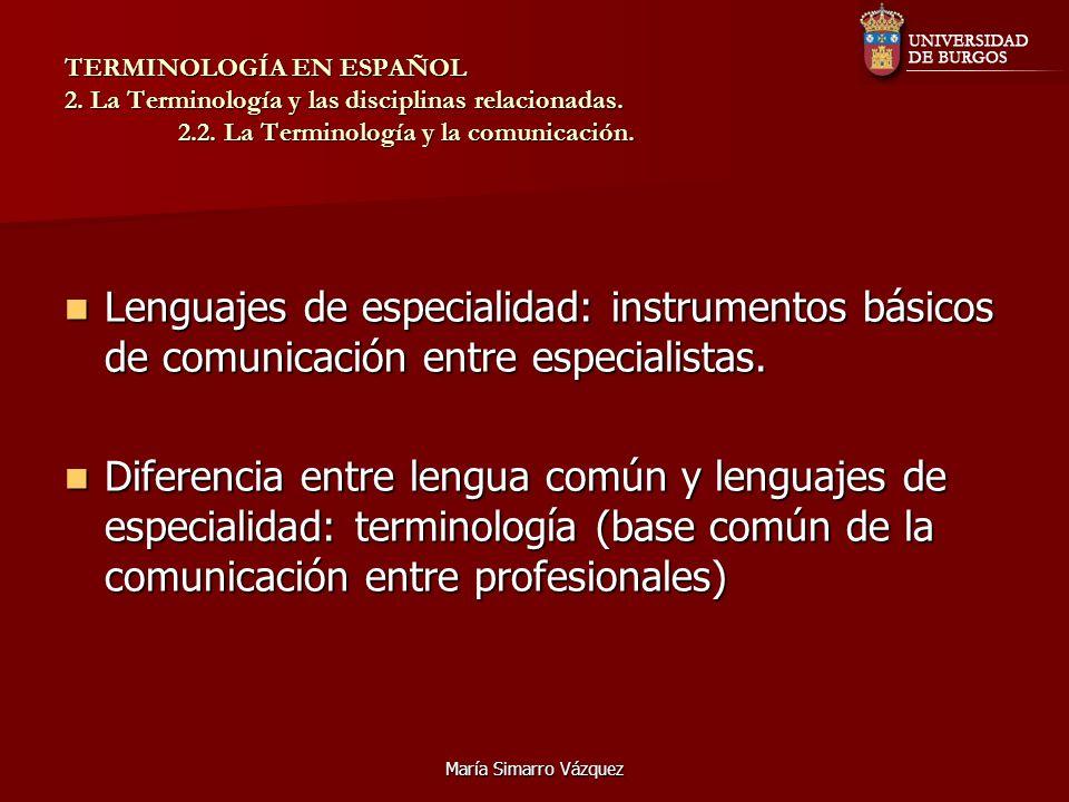 TERMINOLOGÍA EN ESPAÑOL 2