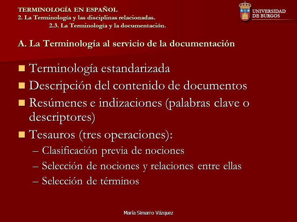 Terminología estandarizada Descripción del contenido de documentos