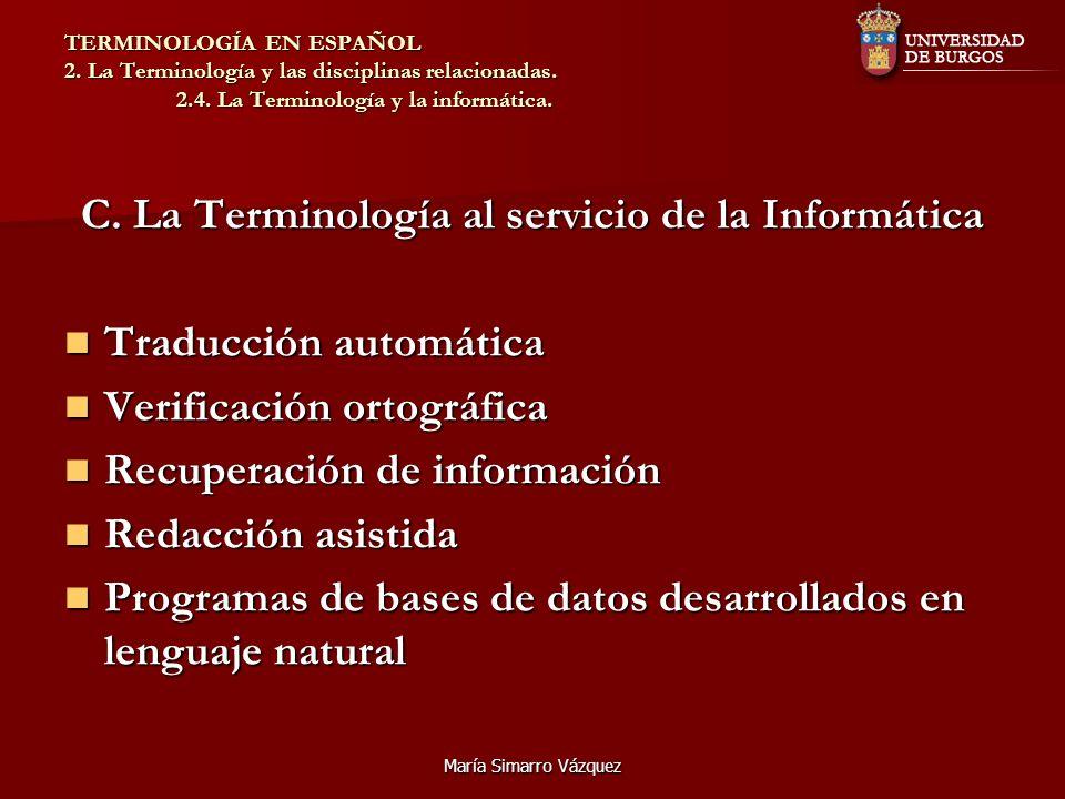 C. La Terminología al servicio de la Informática
